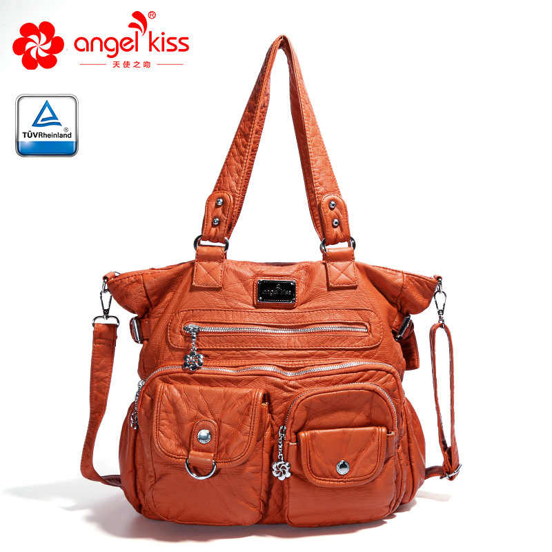 Бренд Angelkiss PU сумочки с эффектом потертости женские сумки на плечо Женская Сумочка для женщин высокого качества сумки-мессенджеры женские кожаные сумки
