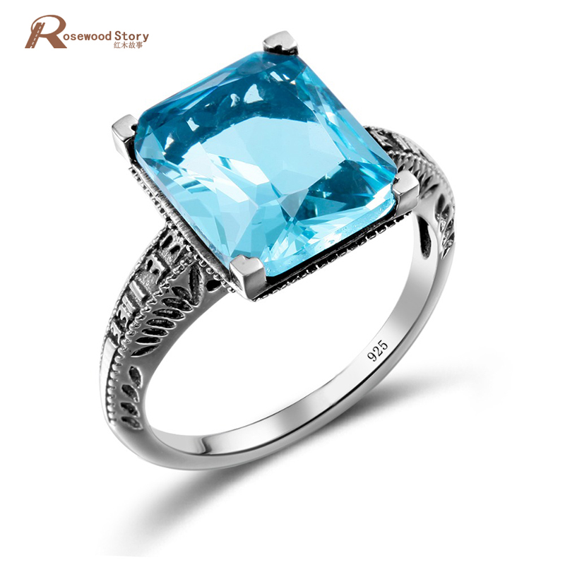 100% Handmade Ring Unique Sky Blue Crytal Rings 925 Sterling Silver Engagement Ring For Women Vintage Fashion Vintage Jewelry