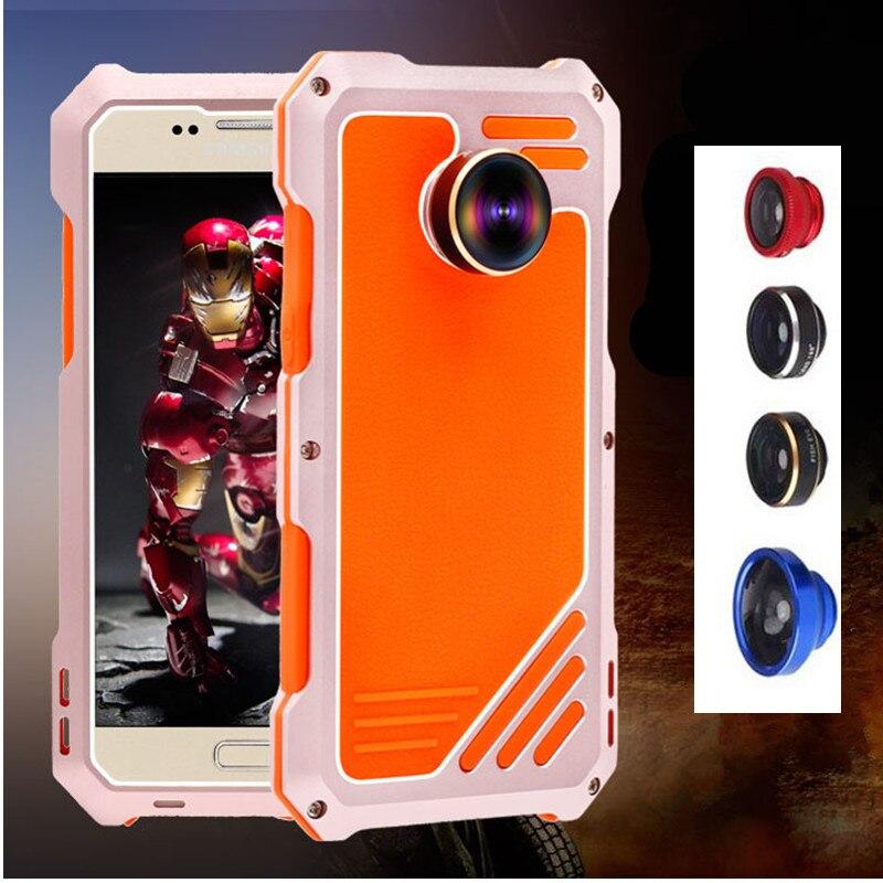 imágenes para Metal de Aluminio de lujo Caja Del Teléfono Para Samsung Galaxy S7 A Prueba de Golpes Caja Del Teléfono a prueba de agua + Tres Lente de La Contraportada Para Samsung S7
