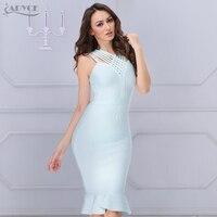 2016 New Summer Black Blue Khaki Sky Blue Emma Spaghetti Strap Mermaid Trim Dress Celebrity Wholesale