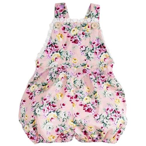 Infant Kids Toddler Baby Girl Bodysuit Strap Jumper Jumpsuit , Rose Flower , 6-24 Months