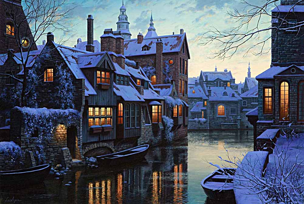 Modern Art Home Decor Prints Place Scenery City Town Shuicheng Oil Painting On Canvas Winter For