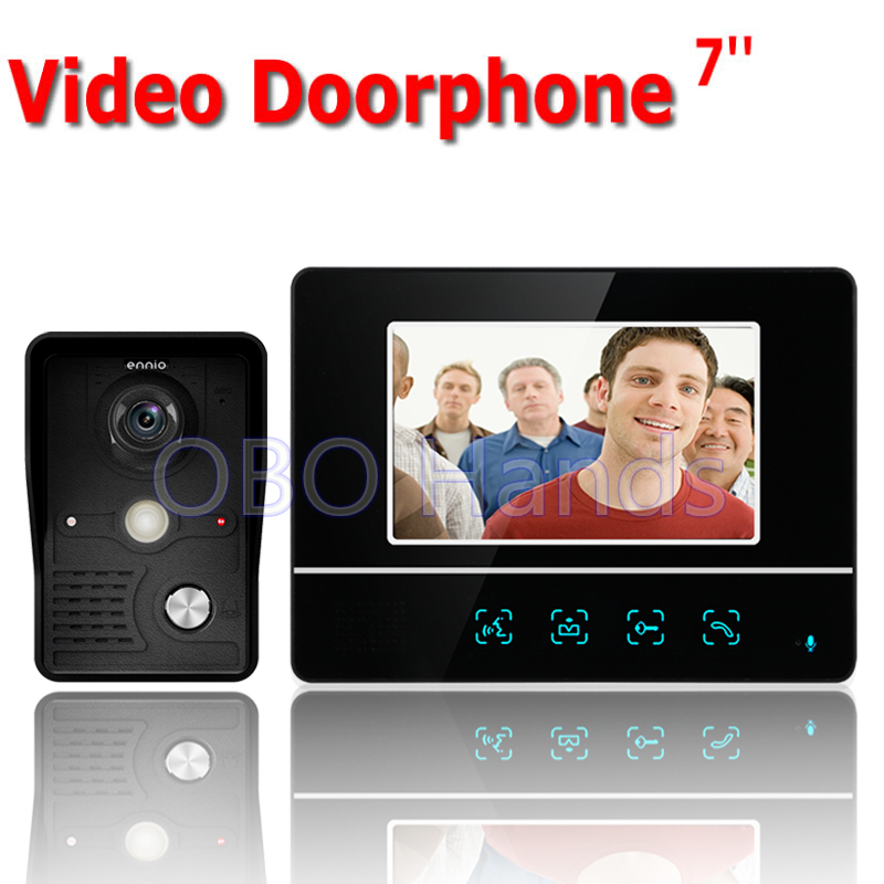 Free shipping 7'' wired color video door phone Intercom system video doorbell kit IR 1 outdoor camera +1 monitor 811MKB11 7 wired color video door phone intercom doorbell system kit set with outdoor ir camera white monitor electric control lock