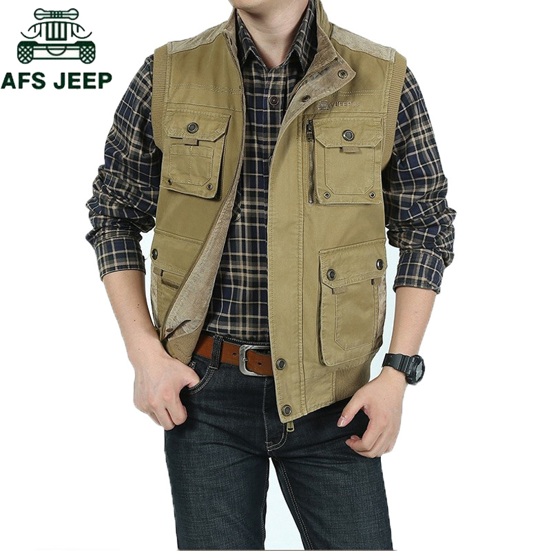 AFS JEEP Brand Military Men Vest Plus Size 4XL-7XL Casaco Masculino Cotton Casual Multi Pocket Vest Men Autumn Winter Waistcoat