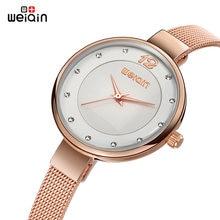 90b853b8a484 WEIQIN marca Ultra fino las mujeres relojes de oro 2019 correa de malla de  acero inoxidable de moda reloj de cuarzo de Mujer Sim.