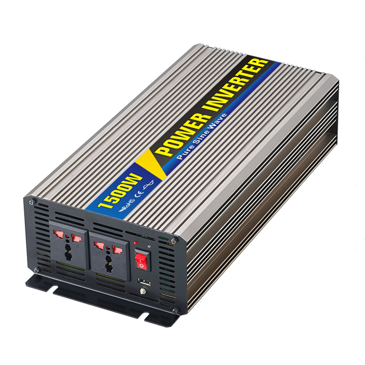 1500W 12V/24V/48V DC to 110V/220V AC Inverter Pure Sine Wave Single Phase Solar or Wind Power Inverter