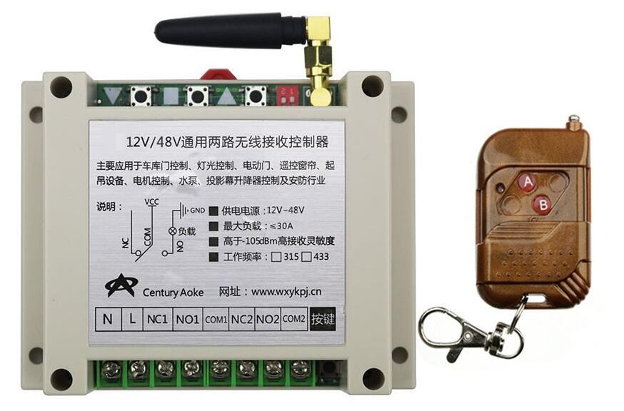 2017 DC12V 24 V 36 V 48 V 10A 2CH RF Control Remoto Inalámbrico Control de Inter