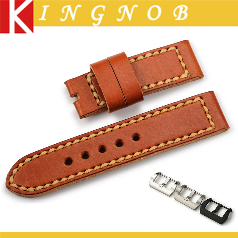 Watch band leather Brown 24mm Handmade Genuine Cowhide Watchband for Panerai Men s Watches Watch strap