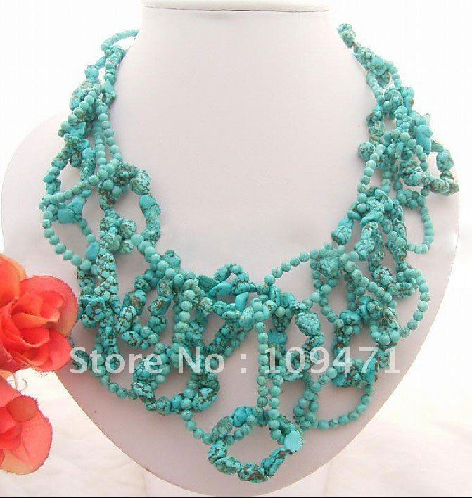 China Make-beauty Jewelry wholesale factory Charming! Blue Blue Semi-precious Stone Necklace