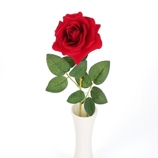 1 Unid Za Flores Rosas De Terciopelo Artificiales Flores Rosas Rojas