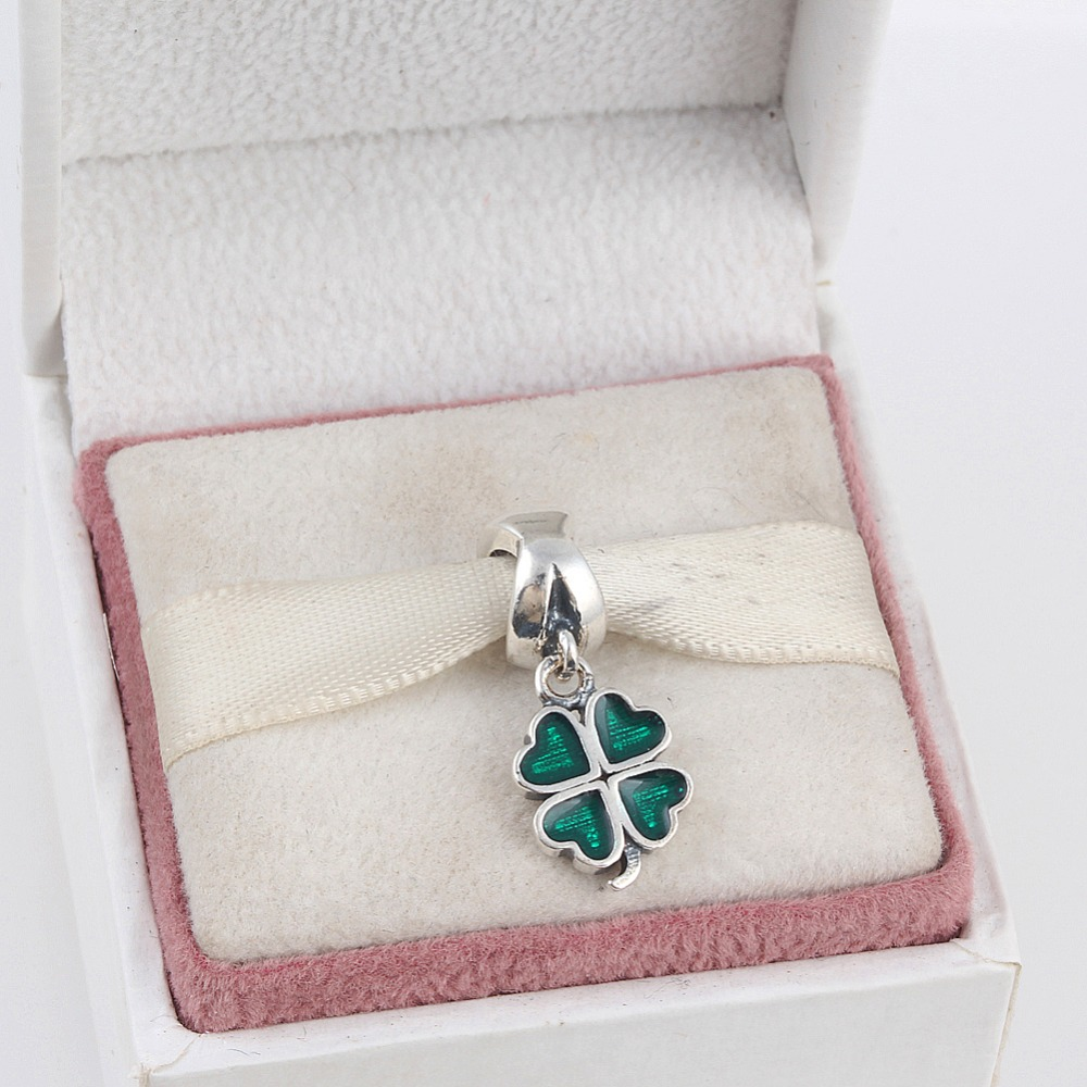 лучшая цена ZMZY Original 925 Sterling Silver Charms Four Leaf Clover Pendants Beads Spiral Hole Fit Pandora Bracelet For Women DIY Jewelry