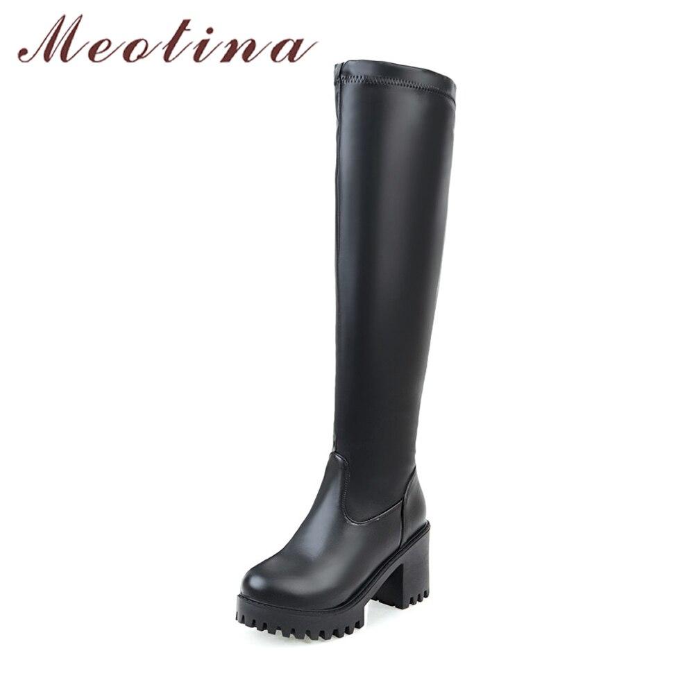 Meotina Winter Shoes Women Boots Platform Thick High Heels Knee High Boots Autumn Thigh High Long Boots Size 33-45 White Black