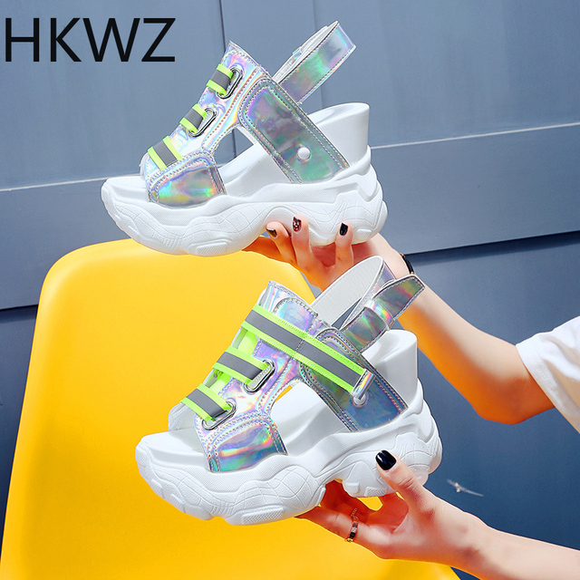 Women's sports sandals  brand new wild fish mouth muffin wedges high heel 11.5cm girl Roman gladiator sandals zapatos de mujer