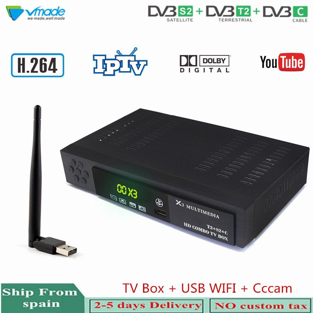Vmade HD récepteur de télévision par Satellite numérique terrestre DVB-T2/S2 + DVB-C 3 en 1 Combo décodeur prise en charge AC3 IPTV avec WIFI + Cccam