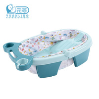 flora Baby Collapsible Tub Baby bath  child tub inflatable bath thickening  Bath Cushion Foldable Blooming