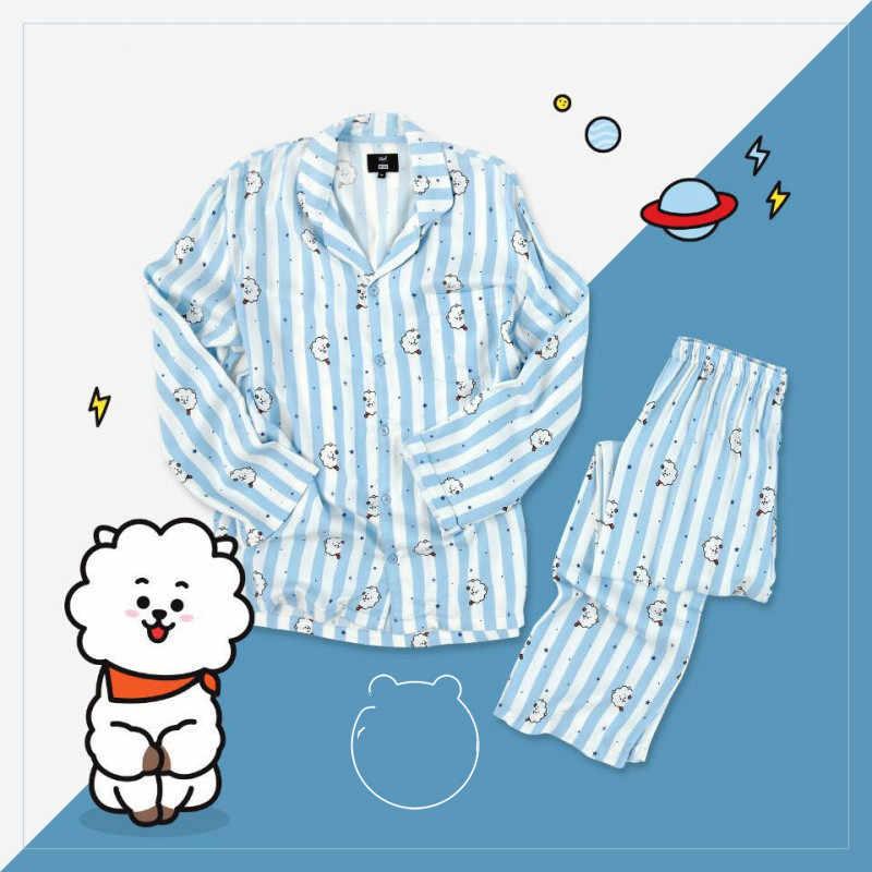 030dd1e16 Kpop Pyjamas BTS Bangtan Boys BT21 Cute Cartoon Tata Rj Chimmy Cooky Koya  Printed Women Sleepwear