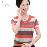 ASLTW Summer T Shirt Women 2018 Women's Short Sleeve Thin Knitting Top Plus Size Causal Striped Female T Shirts