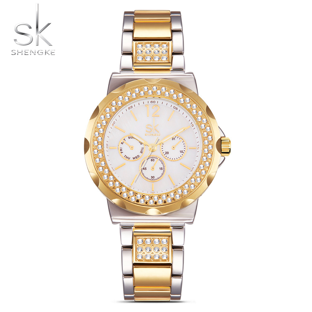 SK New Fashion Women' Watches Rhinestones Stainless Steel Safe Buckle Watchband Wrist  Multiple Colour Female Clock 2017