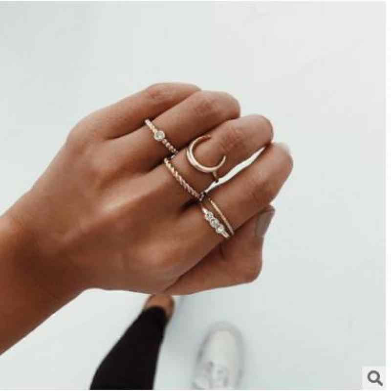 New Fashion Jewelry Popular Sweet Lovely Rhinestone Moon Finger Ring Set Gift For Women Girl Wedding Ring Sets Wholesale