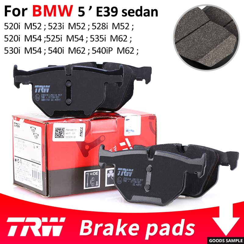 4pieces/set TRW Front/Rear Car Brake Pads For BMW 5 series E39 sedan 520i 523i 523i 2.4 525i 528i 530i 535i 540i 540iP for bmw e39 540i 530i 528i 525i 523i m5 2000 2003 post facelift headlight multi color ultra bright rgb led angel eyes kit