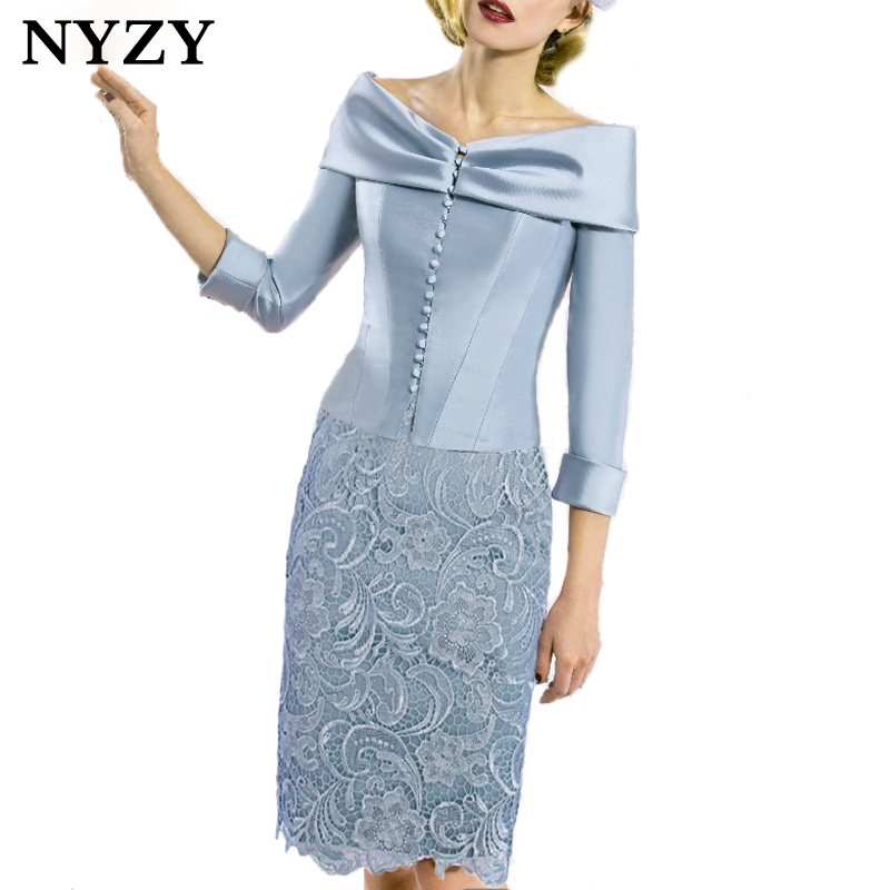 NYZY C168B Elegant Sky Blue Cocktail Dress 2019 Satin Bolero 2 Piece Mother Outfits Party Dress Guest Wear Church Suits