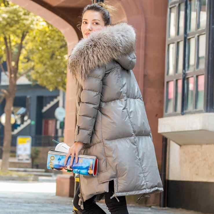 Зимнее пальто из натуральной кожи на утином пуху, длинный плащ с капюшоном из натурального меха енота, ветровка, настоящая овчина, кожаная верхняя одежда