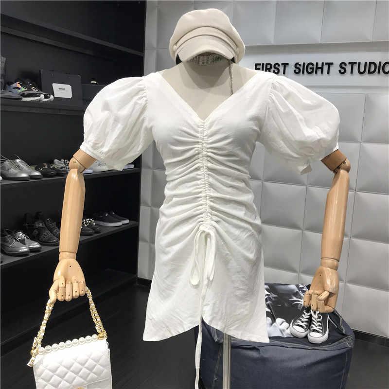 Женщина 2019 Лето ретро темперамент сексуальный v-образным вырезом с пышными рукавами талии галстук тонкий ремень милое платье Женский A322