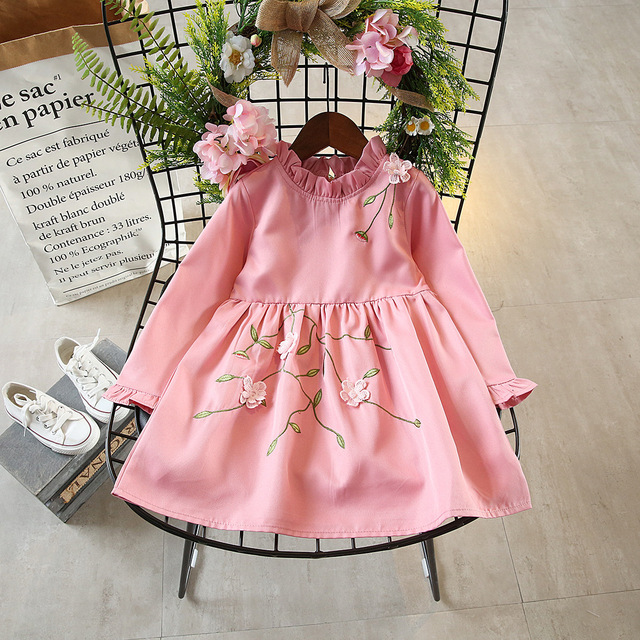 Baby S Dresses 100 Cotton 2017 Brand Autumn Flower Dress Kids Clothes Vintage Enbroidery Fl