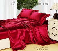 Purplish wine red Natural mulberry silk bedding set king size queen wedding duvet cover bed sheet bedspread
