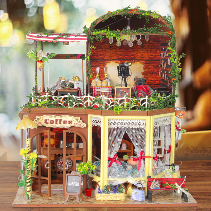 DIY Doll House Wooden Dollhouse Miniatura With Furniture LED Light Handmade Toys For Kids Gift Coffee House D015 #E