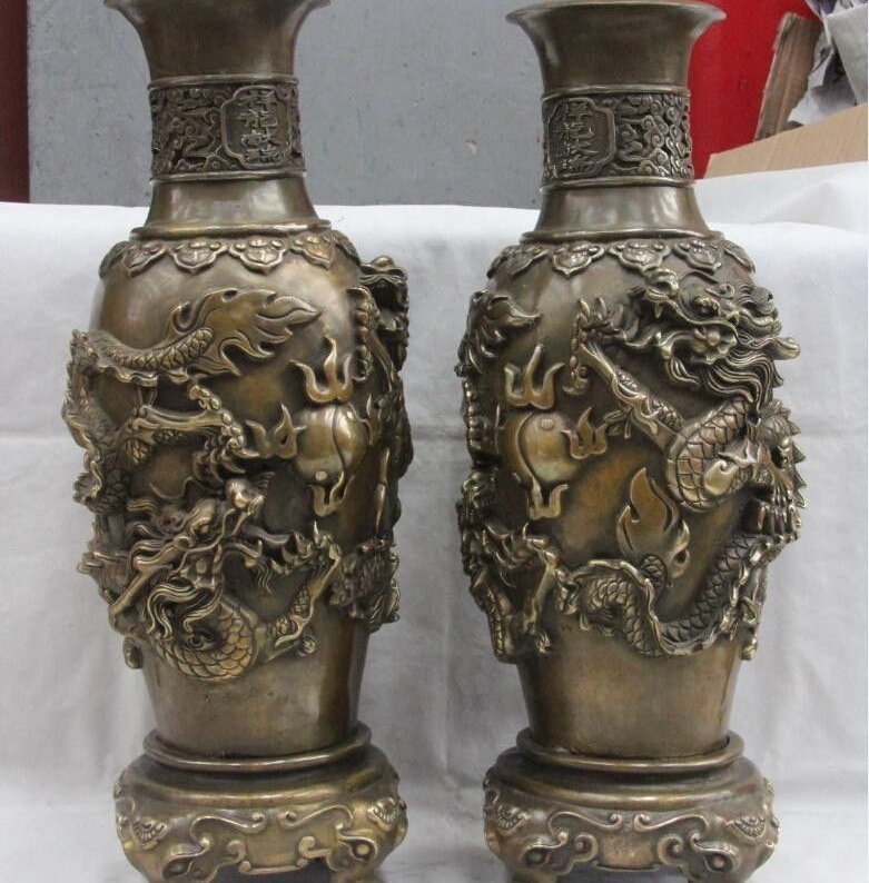 Chinese Palace Copper Bronze Carving Two Dragon Paly Bead Bottle Pot Vase Pair 8.02