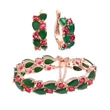 Luxury Emerald Cubic Zirconia Mona Lisa Jewelry Sets Rose Gold Plated Fashion Jewelry Set For Women Ruby Wedding Jewelry WB100