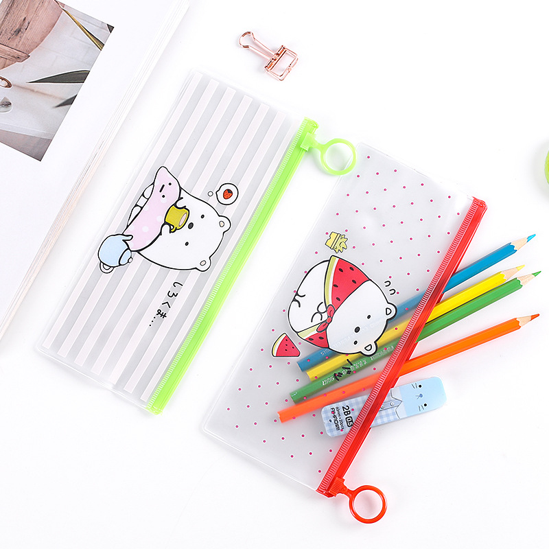 Waterproof Travel Cosmetic Bag Transparent PVC Makeup Bag Cartoon Portable Toiletry Wash Bag Zipper Toothbrush Organizer Pouch