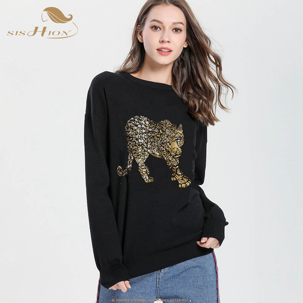 SISHION 2019 spring new Black Sweater with the Same Sweater H7103 Leopard Embroidered Bead Piece Round Neck Knitted Sweater