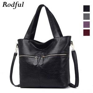 Image 2 - Rodful grande macio casual tote bolsa de ombro bolsas femininas couro feminino grande china senhoras sacos de mão para mulher 2020 preto/cinza