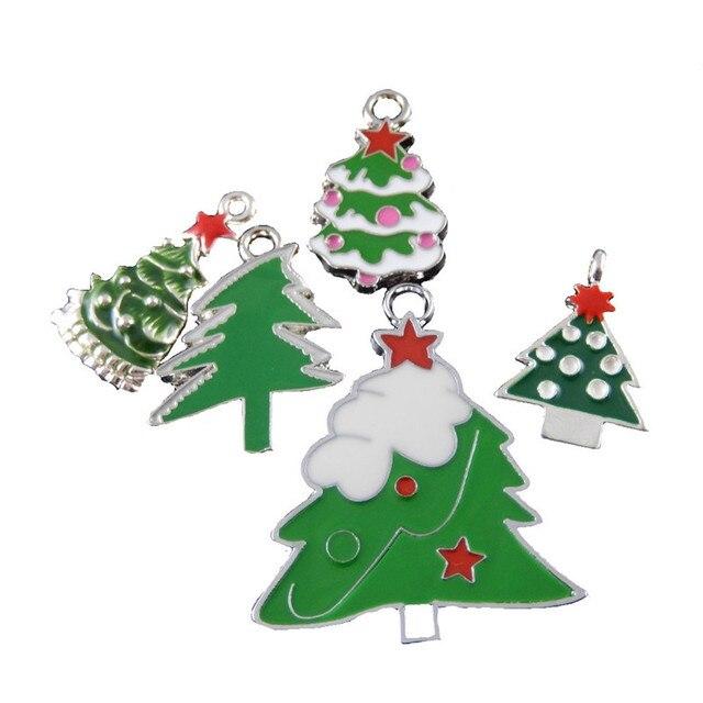 10 unids Navidad mini árbol colgante del esmalte mezclado marcos ...