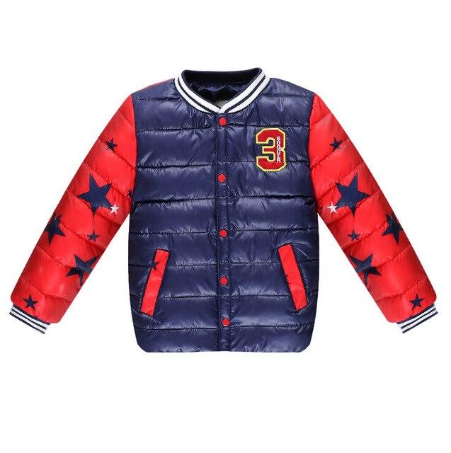 2016 Nova Desigh Meninos Jaqueta de Inverno Da Marca de Moda Jaquetas De Beisebol Patchwork Para Baixo Parkas Grossas de Algodão Quente Casaco Meninos Roupa Dos Miúdos