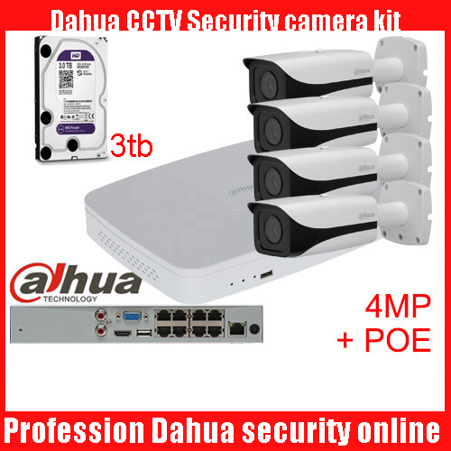 Dahua 4pcs 4MP POE IP Camera DH-IPC-HFW4421E System Security Camera Outdoor 8CH 1080P NVR4108-8P-4ks2 Kit H.264 Video Recorder new hot sell dahua 8ch nvr h 264 1080p network video recorder nvr4108 8p smart 1u support english firmware and onvif