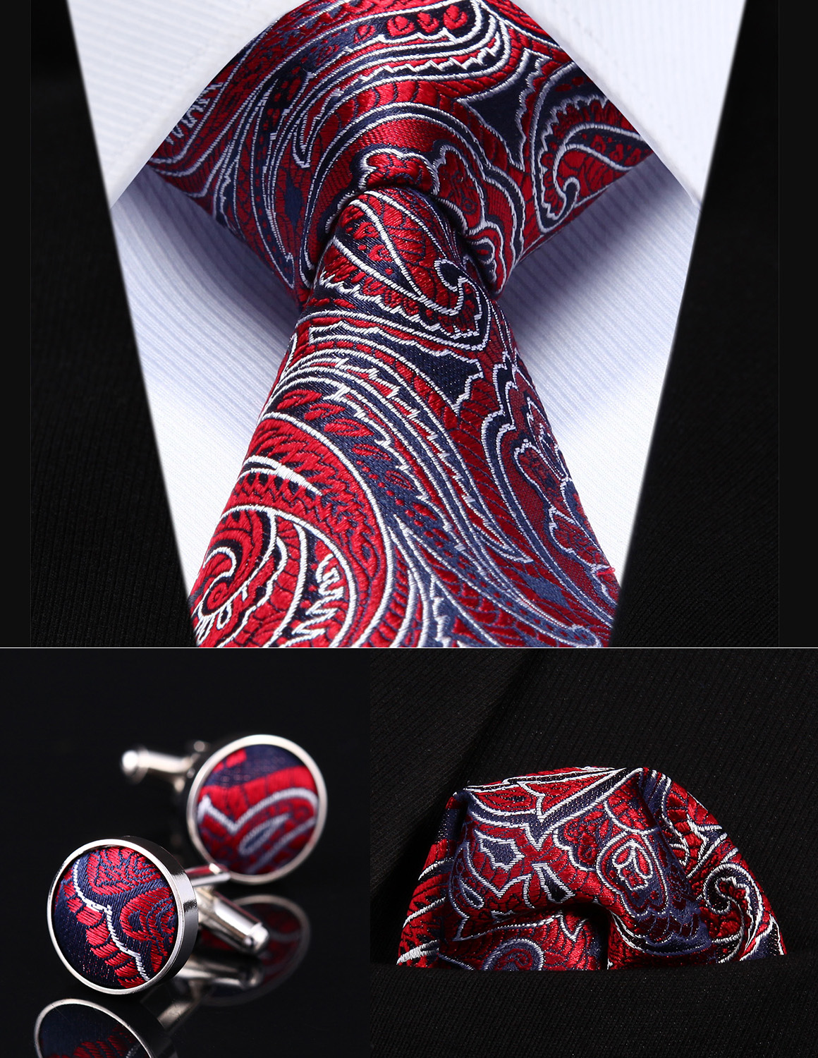 "Party Wedding Classic Pocket Square Tie TZP13R8 Red Blue Paisley 3.4"" Silk Men Tie Necktie Handkerchief Cufflinks Set"