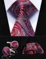 """Pocket Square Wedding Party Classic Corbata TZP13R8 Rojo Azul Paisley 3.4 """"de Seda lazo de Los Hombres Corbata y Gemelos Conjunto"""