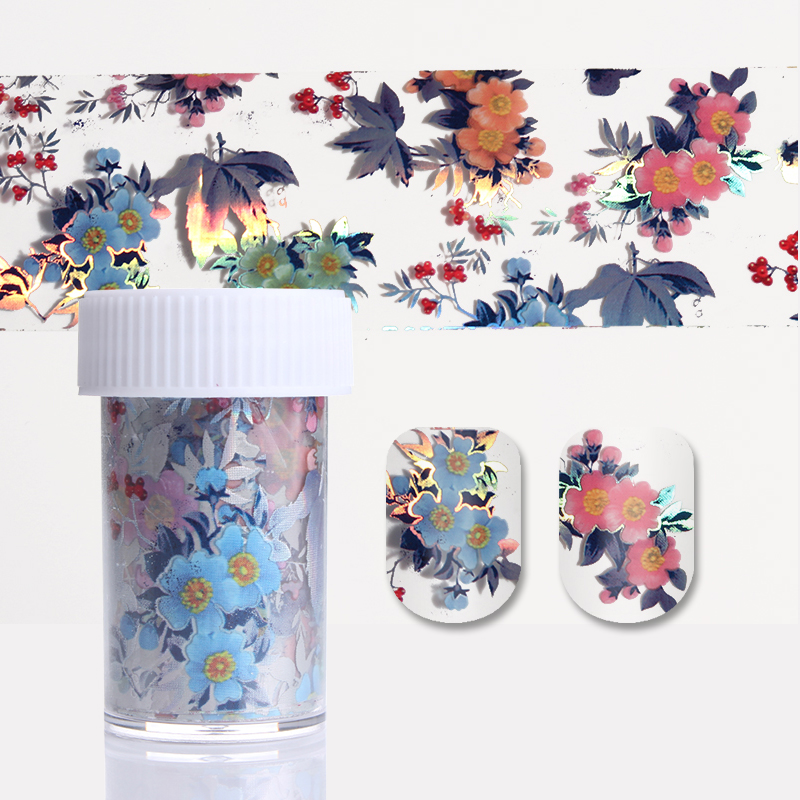 1 Roll Starry Nail Foil Colorful Flower Leaf Manicure Transfer Sticker Nail Art Decoration 4*100cm 1 roll 4cm 120m gold silver holo starry sky nail foil tape nail art transfer sticker nail art decoration tools
