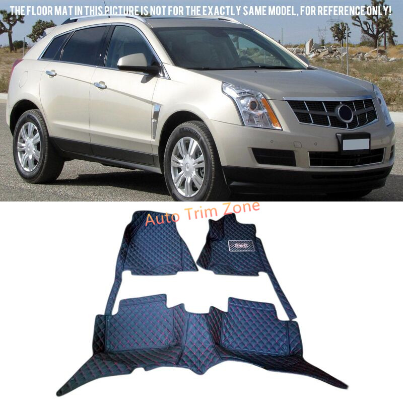 Black Interior Leather Floor Mats & Carpets Foot Pads Protector For Cadillac SRX 2010-2015