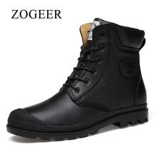 Zogeer/большие размеры в наличии 38–47 Мужские зимние сапоги, белый Пояса из натуральной кожи Для мужчин ботинки в западном стиле, ручной работы одноцветное Армейские сапоги