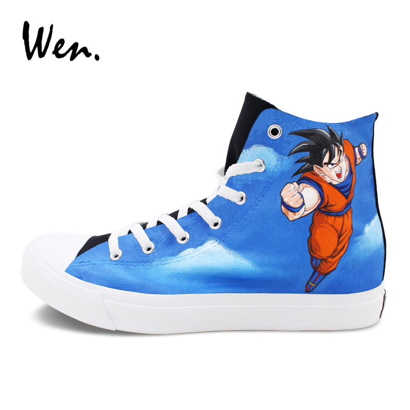 Wen Black Skateboarding Shoes Hand Painted Sneakers Men Women Design Custom Dragon Ball Z Vageta Goku Graffiti Canvas Shoes