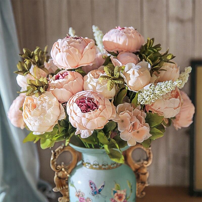 Chencheng 13 ramos de seda artificial peônia buquês falso rosa grandes flores para festa de casamento escritório hotel e decoração de casa