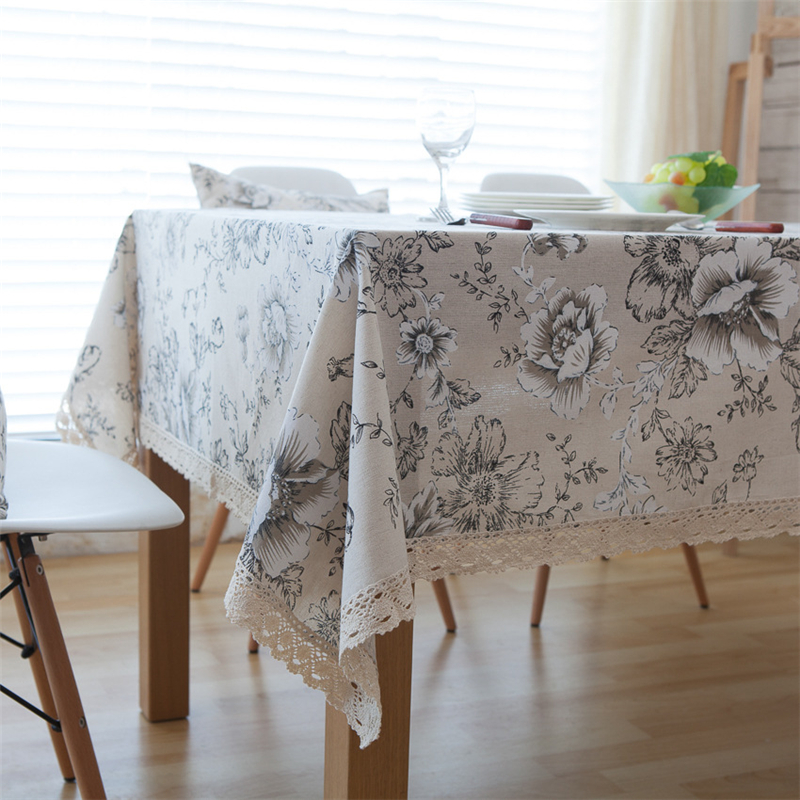 American Pastoral Style White Peony Pattern Tablecloth With Lace Side Cotton&Linen Rural Coffee Cabinet&Table Dustproof Cover