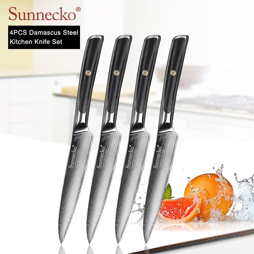 Ev ve Bahçe'ten Mutfak Bıçakları'de SUNNECKO 4 adet 5 inç biftek bıçağı seti Şam Japon VG10 Çekirdek Çelik Bıçak Mutfak Bıçakları G10 Kolu Masa sofra bıçağı Setleri'da  Grup 1