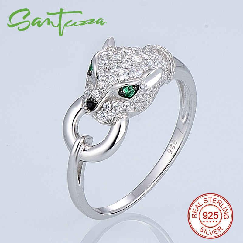 SANTUZZA เงินชุดเครื่องประดับสำหรับสตรี 925 เงินสเตอร์ลิงอินเทรนด์ Panther แหวนต่างหูจี้ชุดสีขาว CZ แฟชั่นเครื่องประดับ