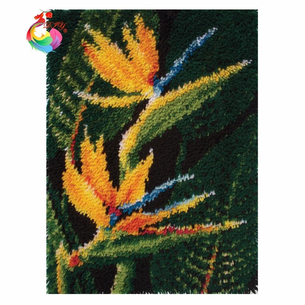 Kits de tapete de gancho de gancho Flores kits de bordado de hilo de - Artes, artesanía y costura