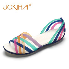 7d43751f9 Rainbow Jelly Shoes Woman Wedges Sandalias Women Sandals Summer New Candy  Color Peep Toe Stappy Beach Valentine Mujer Slippers